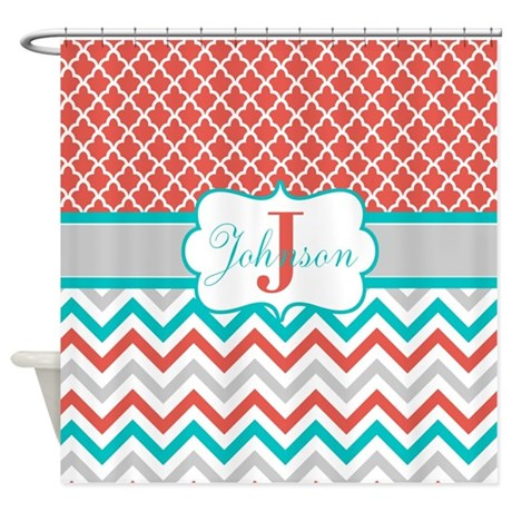 Unique Teal Chevron Shower Curtain Quatrefoil Personalized Throughout Design Inspiration