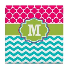 Pink Teal Green Quatrefoil Chevron Monogram Tile C