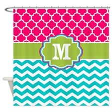 Pink Teal Green Quatrefoil Chevron Monogram Shower