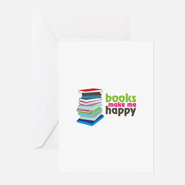 books Make Me Happy Greeting Cards
