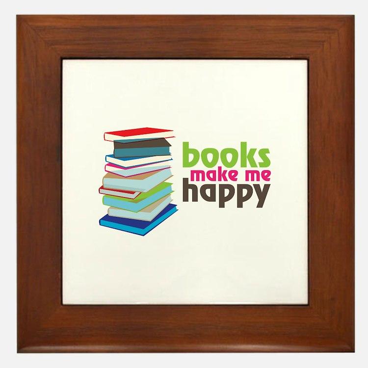 books Make Me Happy Framed Tile