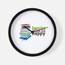 books Make Me Happy Wall Clock