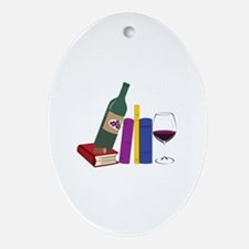Books And Wine Ornament (Oval)
