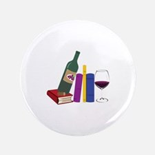 "Books And Wine 3.5"" Button (100 pack)"