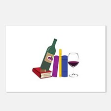 Books And Wine Postcards (Package of 8)