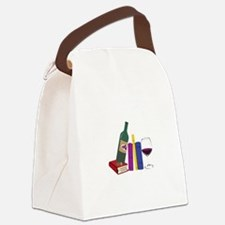 Books And Wine Canvas Lunch Bag