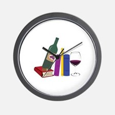 Books And Wine Wall Clock