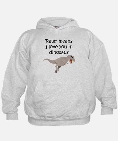 Rawr Means I Love You In Dinosaur Hoodie