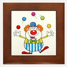 Silly Juggling Cute Clown Cartoon Framed Tile