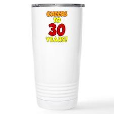 Cheers To 30 Years Glass Travel Mug