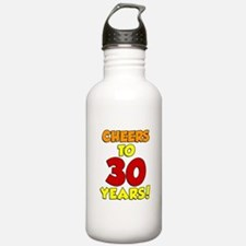 Cheers To 30 Years Glass Water Bottle