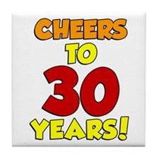 Cheers To 30 Years Glass Tile Coaster