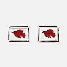 Dark Red Betta Fish Rectangular Cufflinks