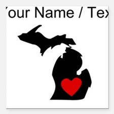 "Custom Michigan Heart Square Car Magnet 3"" x 3"""