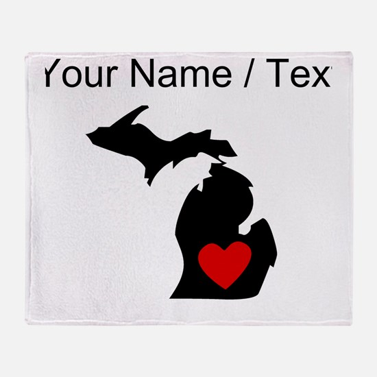 Custom Michigan Heart Throw Blanket