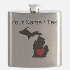 Custom Michigan Heart Flask