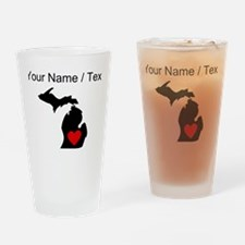Custom Michigan Heart Drinking Glass