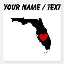 "Custom Florida Heart Square Car Magnet 3"" x 3"""