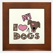 I Love My Dog Framed Tile