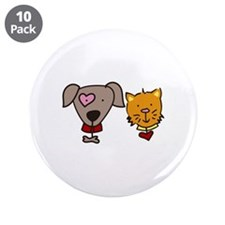 """Dog and cat 3.5"""" Button (10 pack)"""