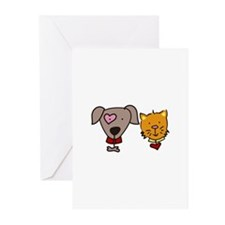 Dog and cat Greeting Cards