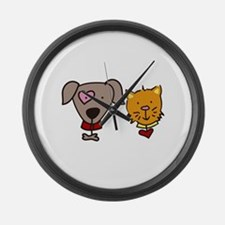 Dog and cat Large Wall Clock