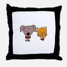 Dog and cat Throw Pillow