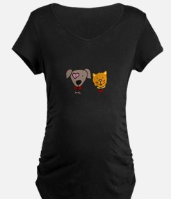 Dog and cat Maternity T-Shirt