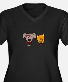 Dog and cat Plus Size T-Shirt