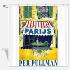Paris, Cafe, Vintage Poster Shower Curtain