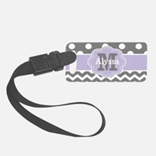 Gray Purple Polka Dots Chevron Luggage Tag