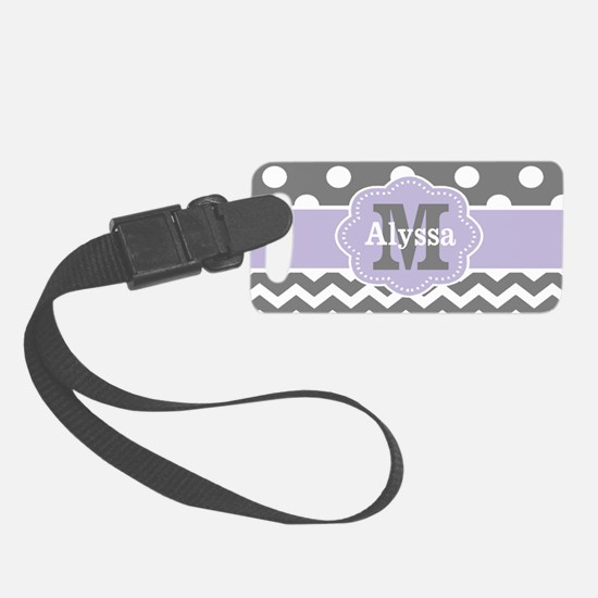 Gray Purple Polka Dots Chevron Small Luggage Tag