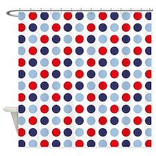 Nautical Dots White Shower Curtain