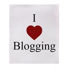 I Love Blogging White Throw Blanket