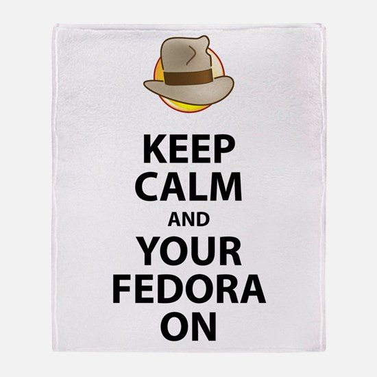 Keep Calm And Your Fedora On Black Throw Blanket