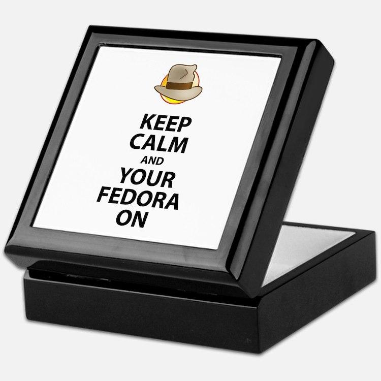 Keep Calm And Your Fedora On Black Keepsake Box