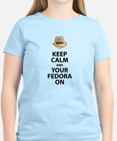 Keep Calm And Your Fedora On Black Text Updated T-