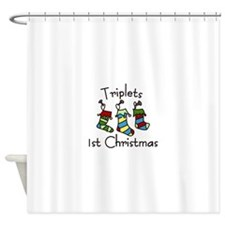 Triplets 1st Christmas Shower Curtain
