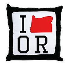 I Heart Oregon Throw Pillow