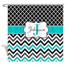 Black Gray Teal Chevron Quatrefoil Personalized Sh