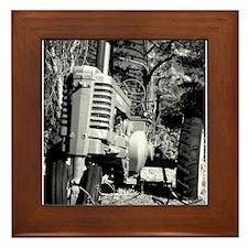John Deere in Black and White Framed Tile