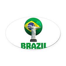 Brazil Soccer 2014 Oval Car Magnet