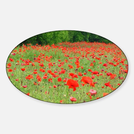 Field of Red Sticker (Oval)