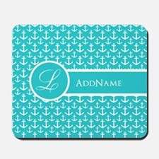 Teal Anchor Monogram Mousepad