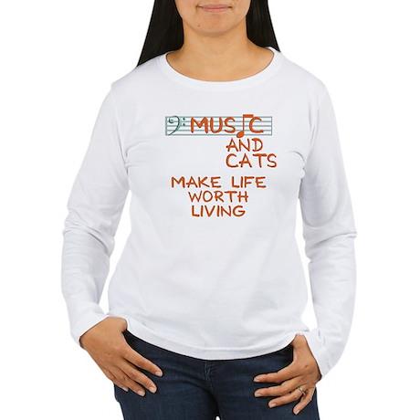 musicandcats-dark.png Long Sleeve T-Shirt