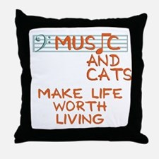 musicandcats-dark.png Throw Pillow