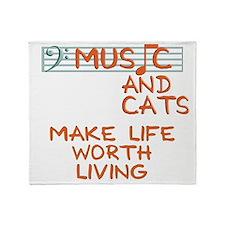 musicandcats-dark.png Throw Blanket