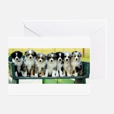 Australian Shepherd Puppies Watercolor Greeting Ca