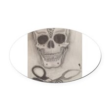 Medic Skull and Crossbones Oval Car Magnet