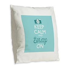Keep Calm and Snap On Burlap Throw Pillow